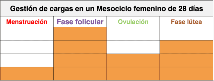 Imagen 3: Bataller, A. (2019). Distribución de las cargas en un mesociclo.