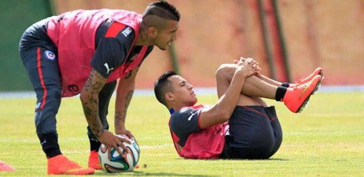 Vidal y Alexis con la selección de Chile