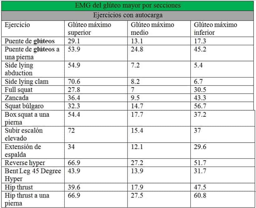 EMG del glúteo mayor por secciones en ejercicios con autocarga