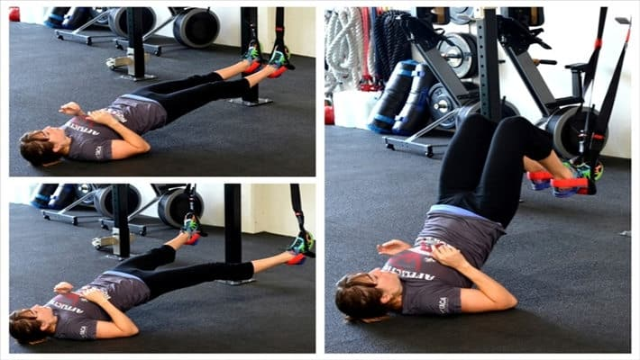 Abducción de cadera + hip thrust sobre TRX