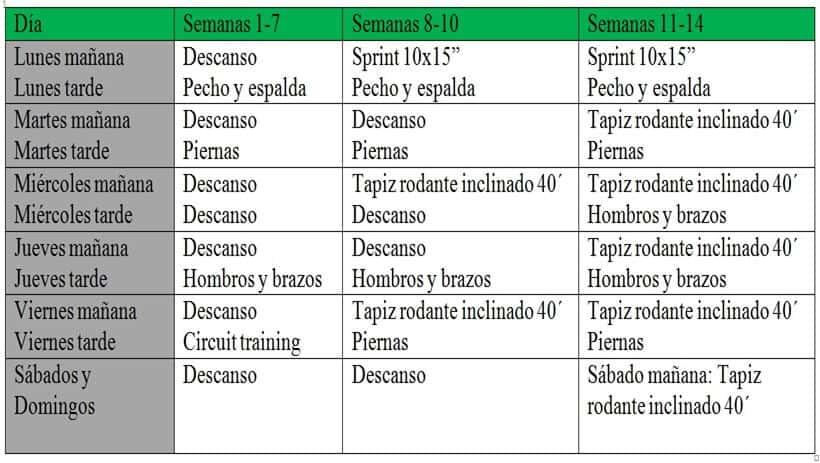 Tabla 5. Programa de entrenamiento durante la intervención