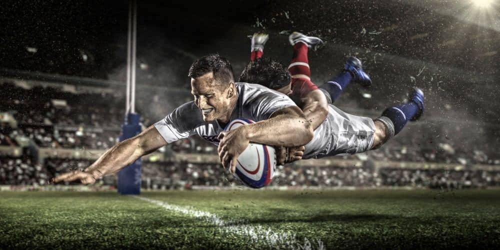 Jugador de rugby ensayando