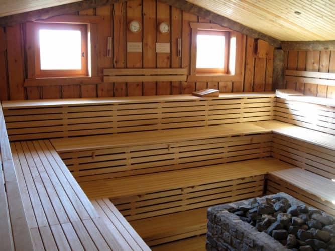 Interior de una sauna
