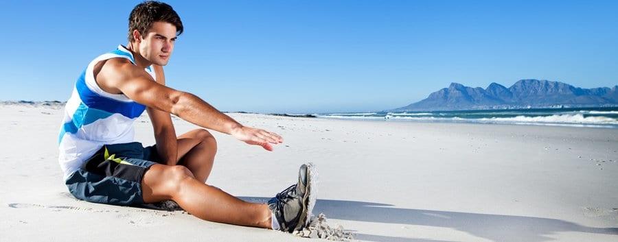 Estiramientos en la playa