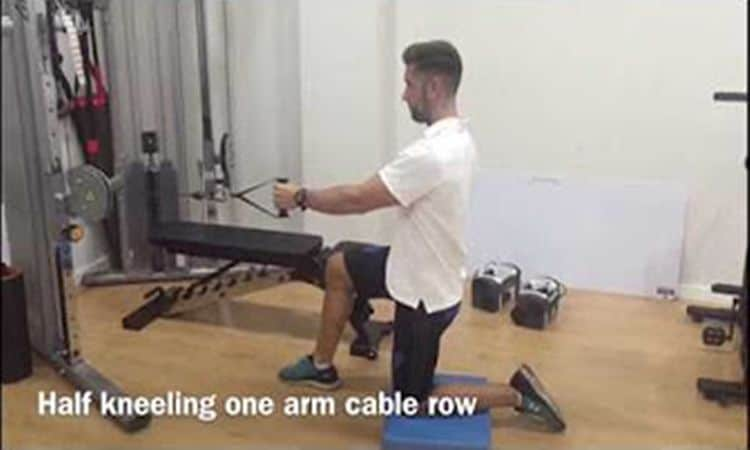Unilateral kneeling row