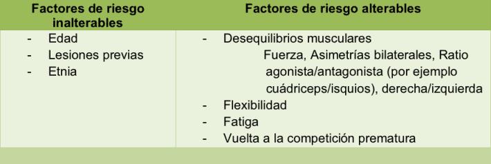 Tabla 1: Factores de riesgo de las lesiones musculares