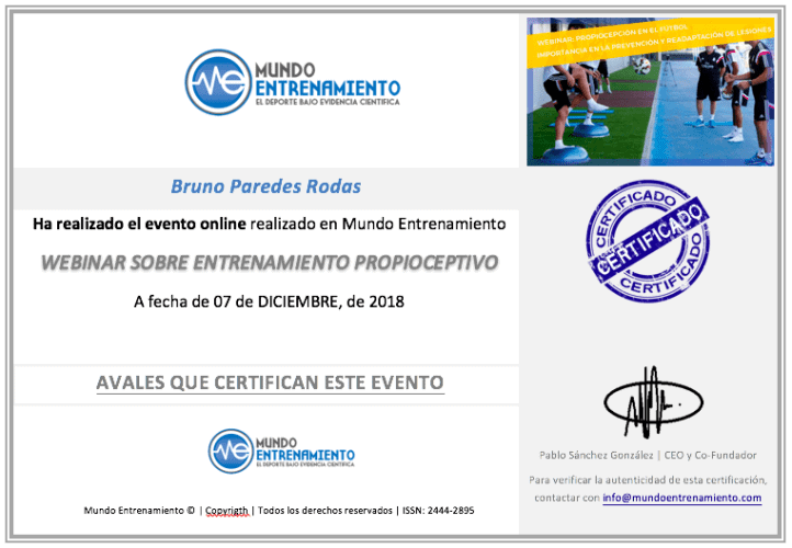 certificado propiocepcion