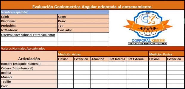 Cuadro de valoración goniometrica.