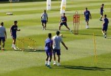Sesión de entrenamiento en fútbol