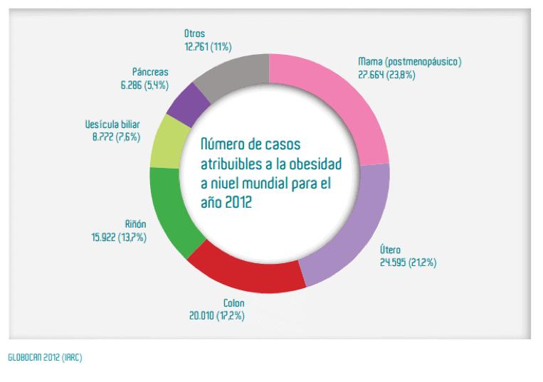 Figura 2. Número de casos atribuibles a la obesidad a nivel mundial del año 2012, por localización tumoral.