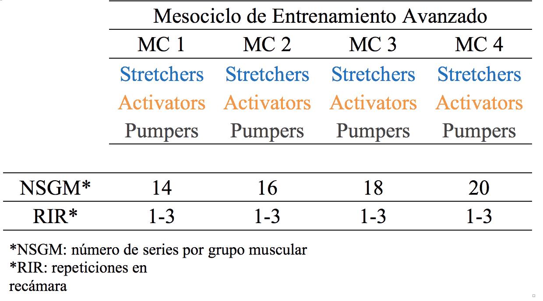 Figura 2. Mesociclo de entrenamiento de glúteo avanzado