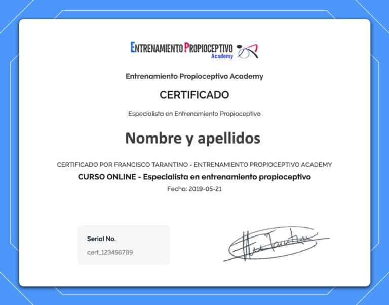 certificado entrenamiento propioceptivo