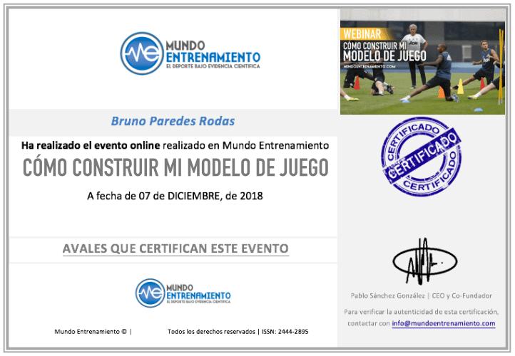certificado modelo de juego en fútbol