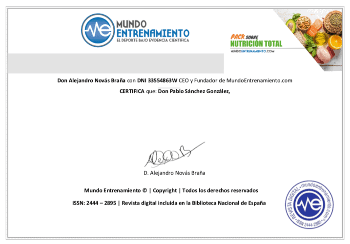 certificado pack nutrición