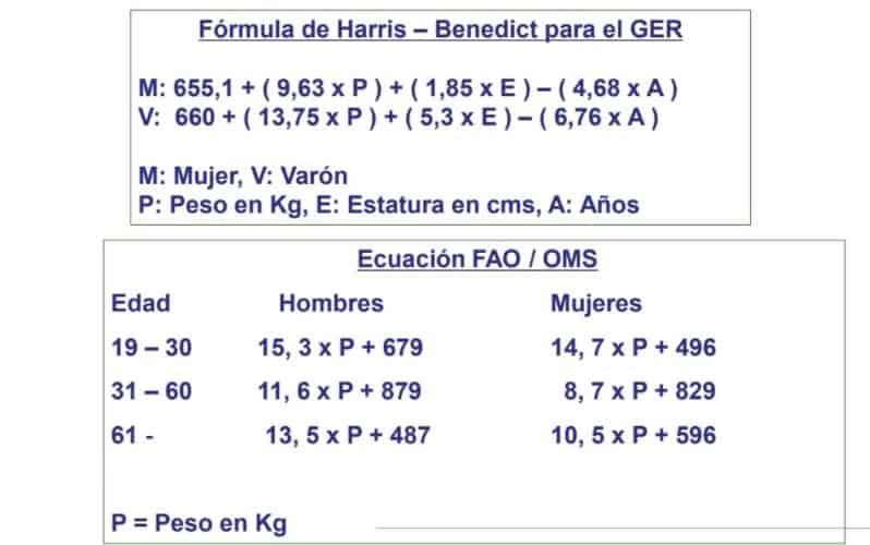 Fórmulas para estimar el gasto energético